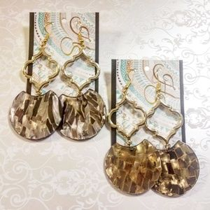 Bronze acrylic drop earrings